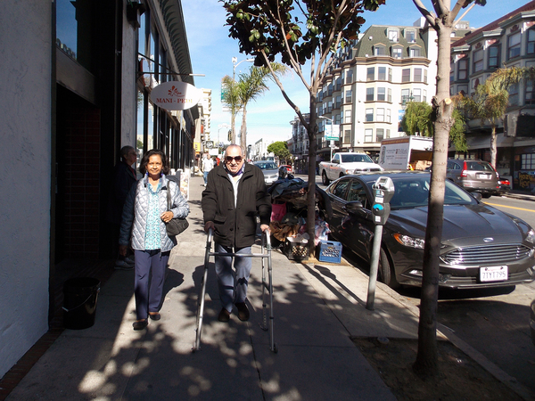 Girardi (right) and Narruhn head to one of their favorite San Francisco restaurants for lunch. Because of their friendship, Girardi says, he no longer fears leaving his apartment or getting older. Research shows loneliness can hurt seniors' health.