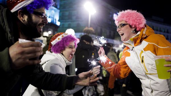 People celebrate the New Year in Madrid