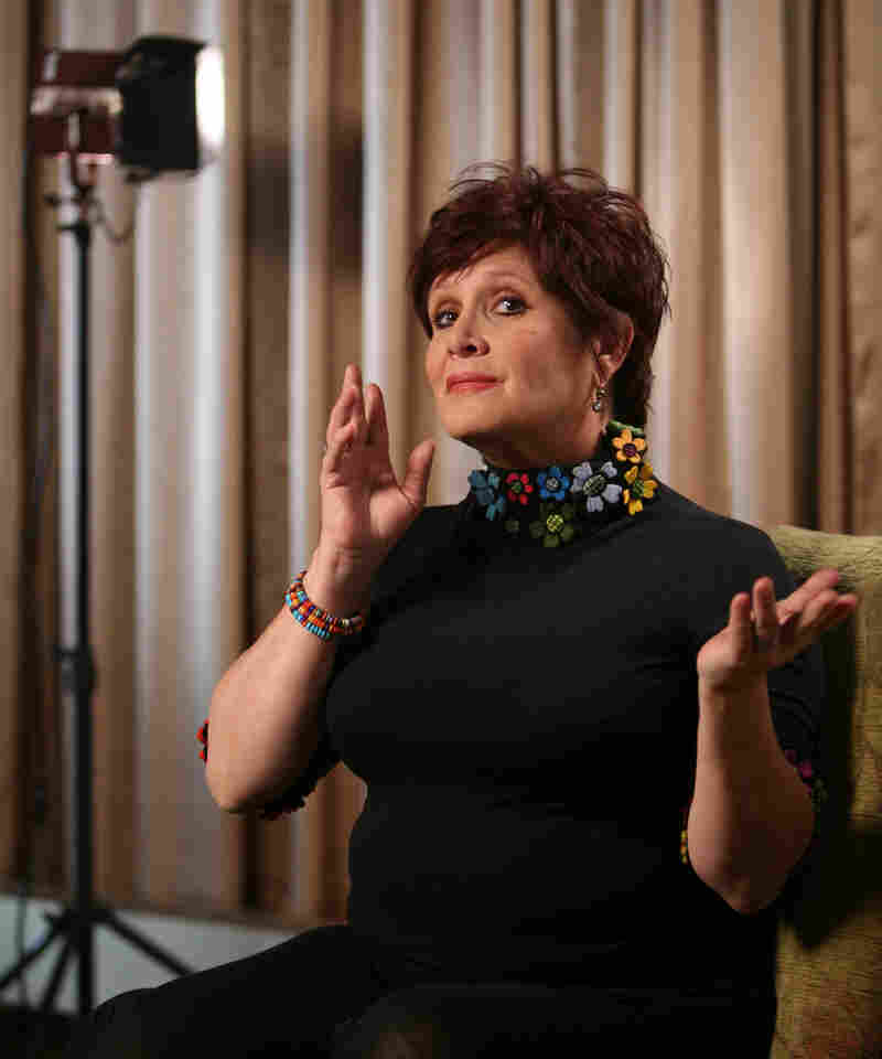 Carrie Fisher stars in Wishful Drinking, a one-woman show (and title of her best-selling memoir) in New York in 2009.