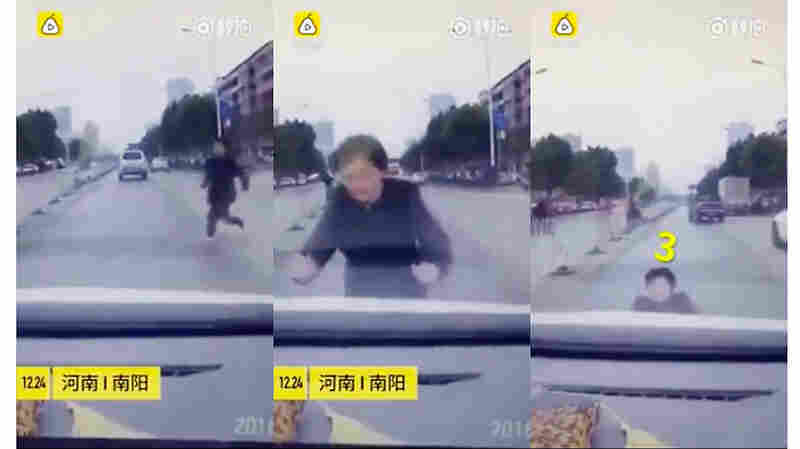 A Chinese Woman Does A Really Bad Job Pretending To Be Hit By A Car