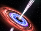 """An artist's rendering depicts what happened when a black hole devoured a star in 2011 and ejected some of the stellar remains in a jet of particles pointed at Earth. This blazing quasar, or """"blazar,"""" was far enough away that it posed no harm to Earthlings."""