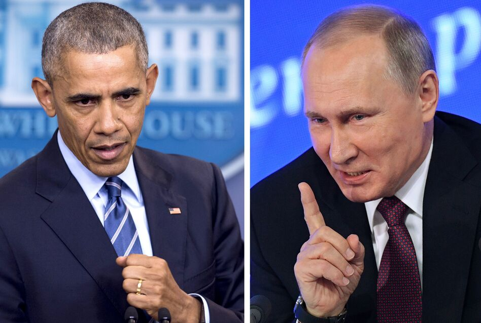 President Obama speaks at the White House on Dec. 16; Russian President Vladimir Putin speaks in Moscow on Dec. 23. The U.S. announced sanctions against Moscow on Thursday, and the Kremlin responded Friday. (Saul Loeb/AFP/Getty Images)