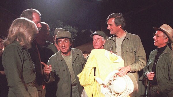 William Christopher, far right, was best known for his role as Father Mulcahy on the 1970s TV show M*A*S*H. He died Saturday in California at the age of 84.