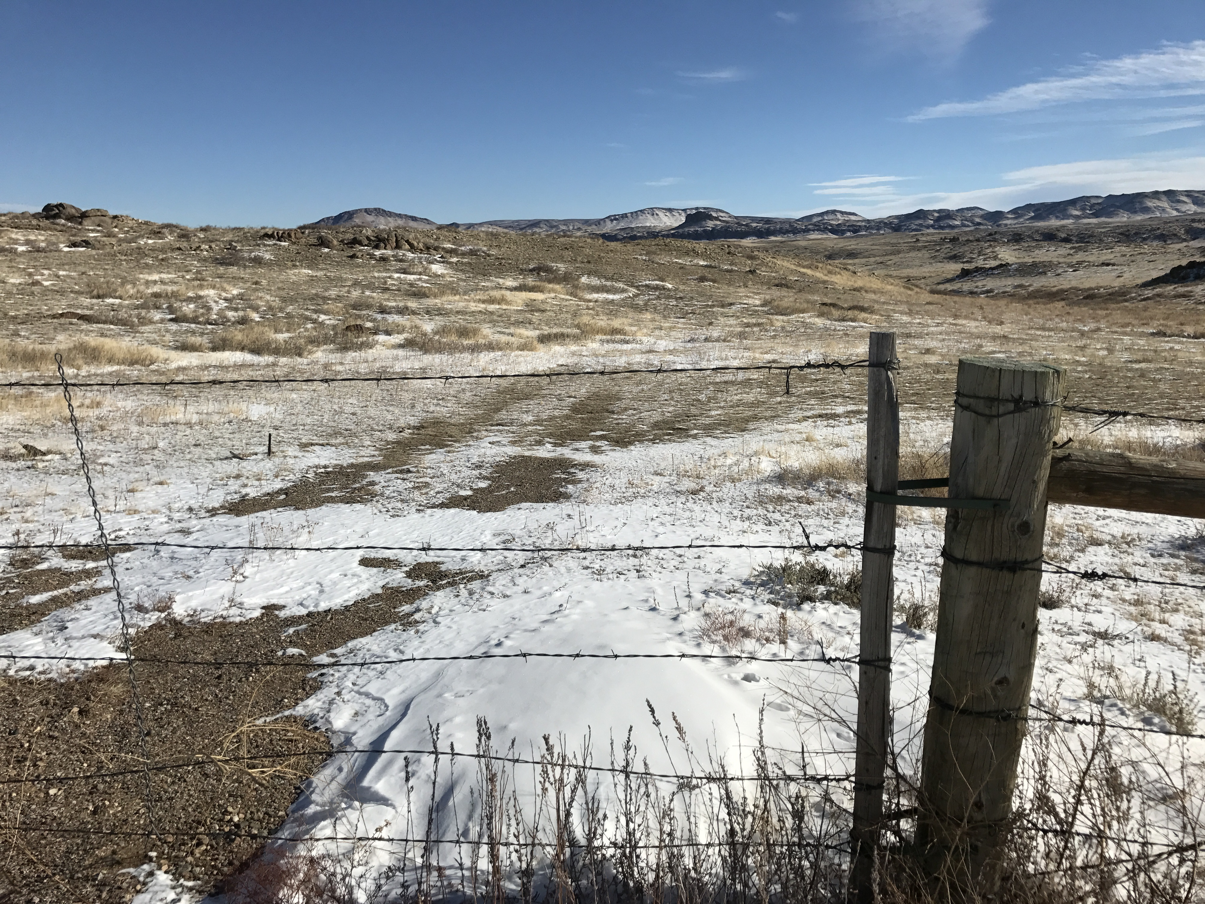 The Laramie range north of Laramie, Wyo., is a mix of private and public lands run by the U.S. Bureau of Land Management. About half of all the land in Wyoming is controlled by the federal government. Kirk Siegler/NPR.