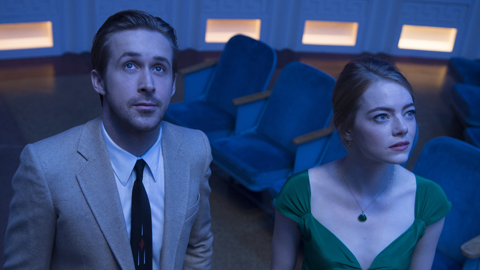Ryan Gosling and Emma Stone are aspiring artists in the movie musical <em>La La Land.</em> The film has been nominated for seven Golden Globe awards. (Dale Robinette)