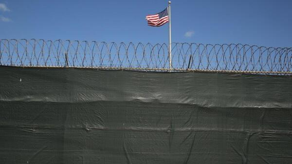 A flag waves inside Camp 6 at the Guantanamo Bay prison in Cuba, last February.