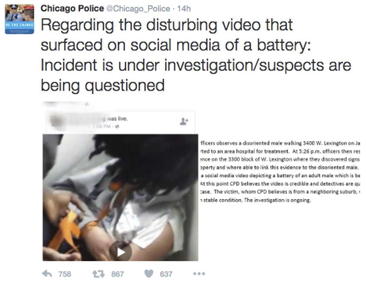This image, posted on the Chicago Police Department's Twitter page, shows a frame from a video broadcast live on Facebook in which a man is assaulted. Superintendent Eddie Johnson called the video 'sickening.' (Chicago Police Department via AP)/AP