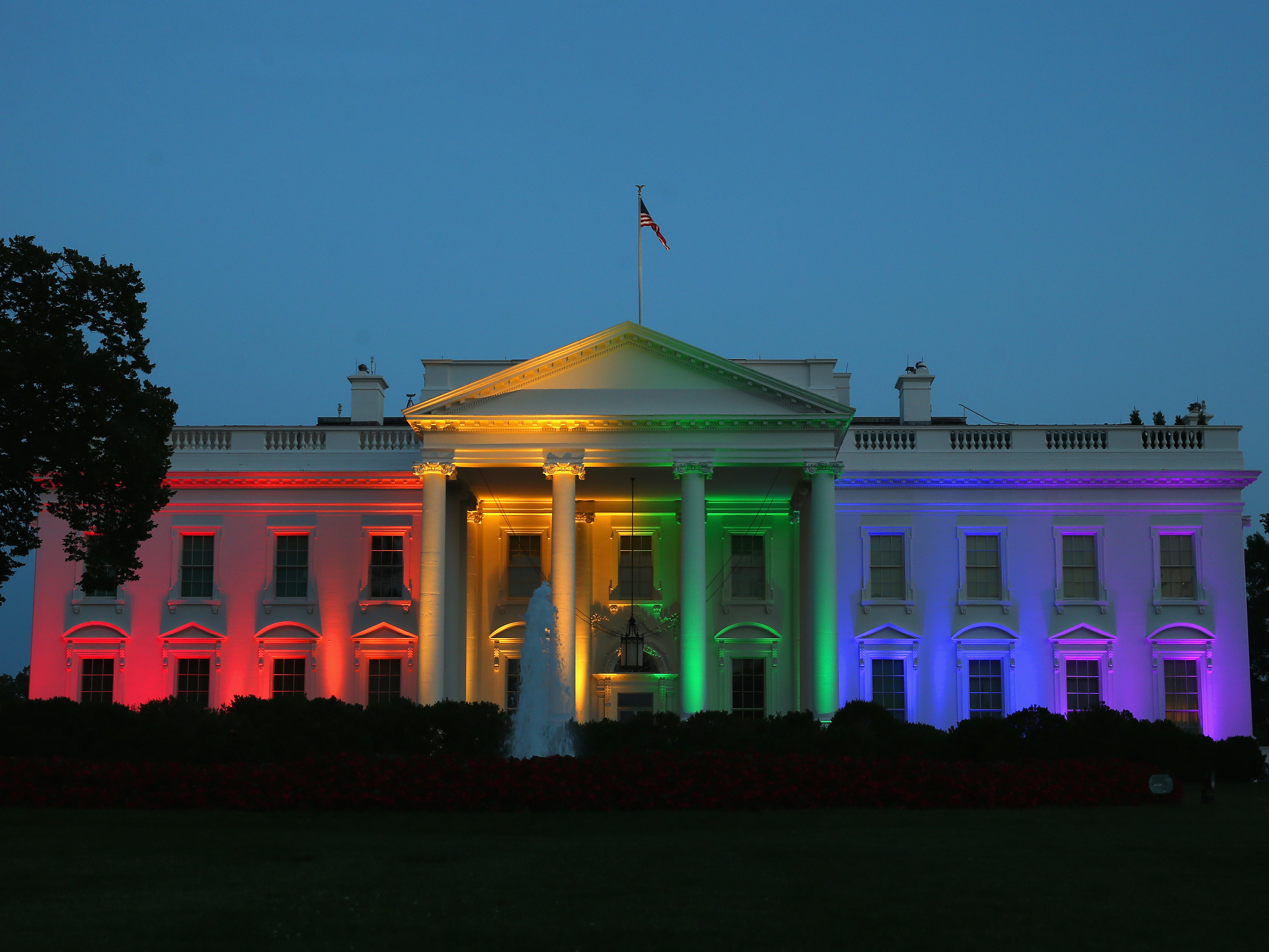 Rainbow-colored lights shine on the White House to celebrate today's U.S. Supreme Court ruling in favor of same-sex marriage June 26, 2015 in Washington, DC. (Mark Wilson/Getty Images)
