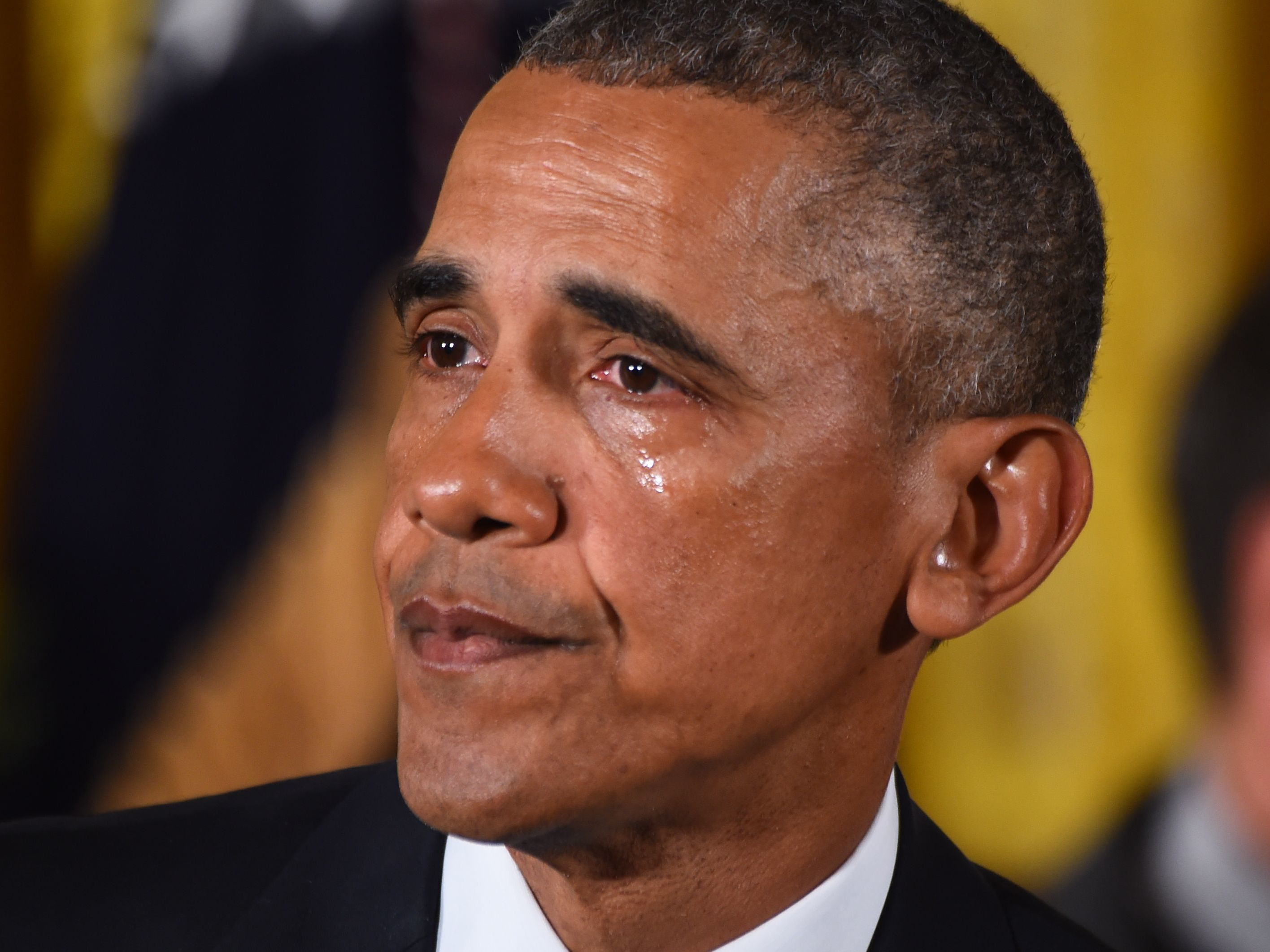 President Barack Obama gets emotional as he delivers a statement on executive actions to reduce gun violence on January 5, 2016 at the White House in Washington, DC. (Jim Watson/AFP/Getty Images)