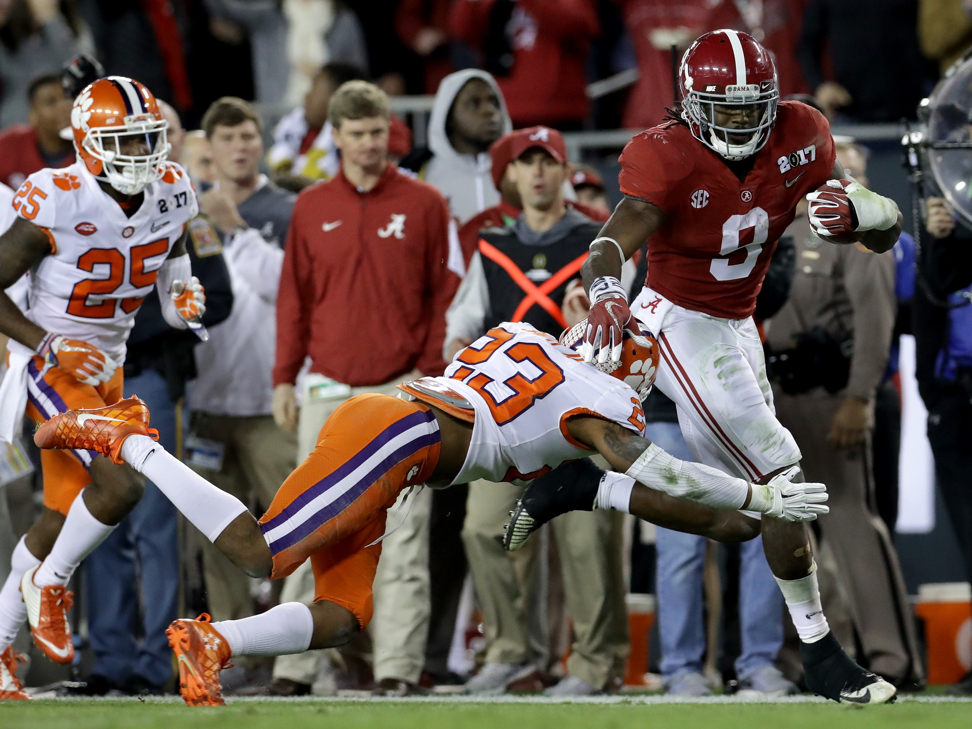Sophomore running back Bo Scarbrough of the Alabama Crimson Tide rushes for a 37-yard touchdown Monday during the second quarter in the 2017 College Football Playoff National Championship Game against the Clemson Tigers in Tampa, Fla. Scarborough had two long touchdown runs, after getting two long scores against Washington in the semifinal game. (Ronald Martinez/Getty Images)