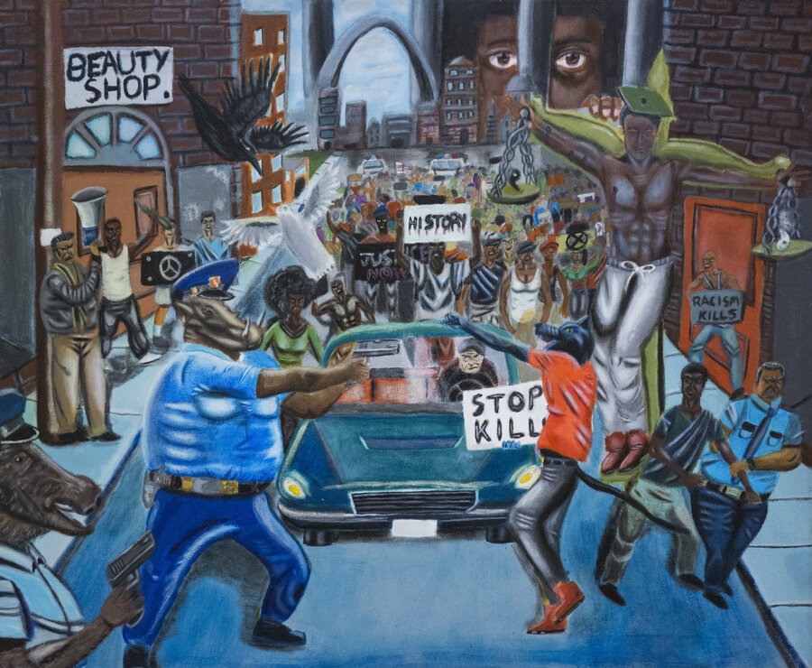 Ferguson Painting By Student Sparks Tensions On Capitol Hill : NPR