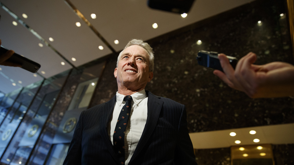 "Robert F. Kennedy Jr. in the lobby of Trump Tower in New York, Tuesday, after meeting with President-elect Donald Trump. Kennedy said Trump put him in charge of a commission on ""vaccine safety."" (Evan Vucci/AP)"