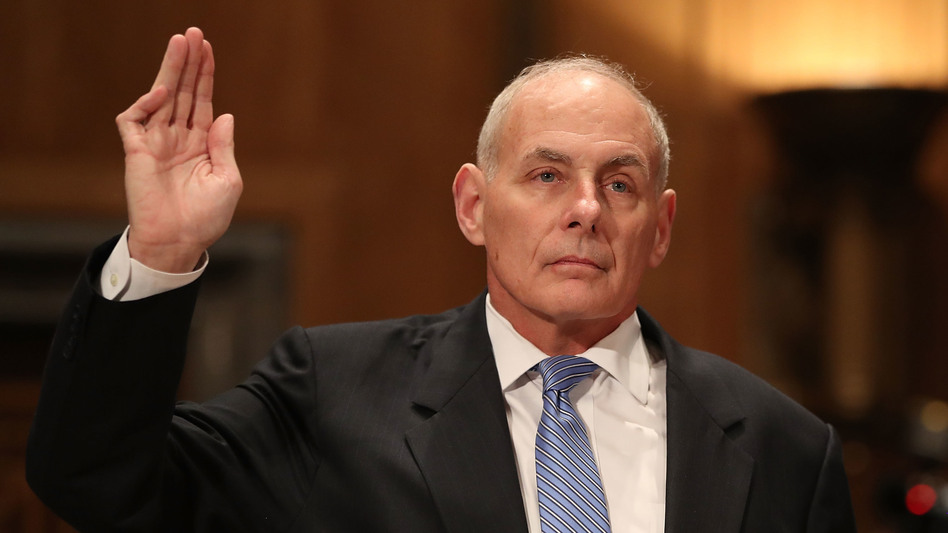 Retired Marine Gen. John Kelly is sworn in before his confirmation hearing in front of the Senate Homeland Security and Governmental Affairs Committee to run the Department of Homeland Security on Tuesday. (Getty Images)