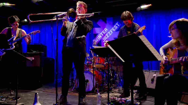 Guitarist Ava Mendoza, trombone player Jacob Garchik, drummer Vinnie Sperrazza, guitarist Jonathan Goldberger and guitarist Mary Halvorson perform together as Jacob Garchik's Ye Olde.