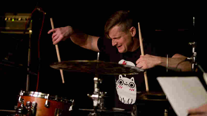 Drummer Jim Black performs live at Winter Jazzfest.