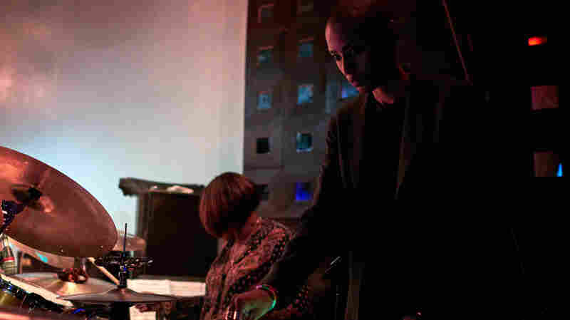 Percussionist Terri Lyne Carrington performs with DJ Val on the turntables.