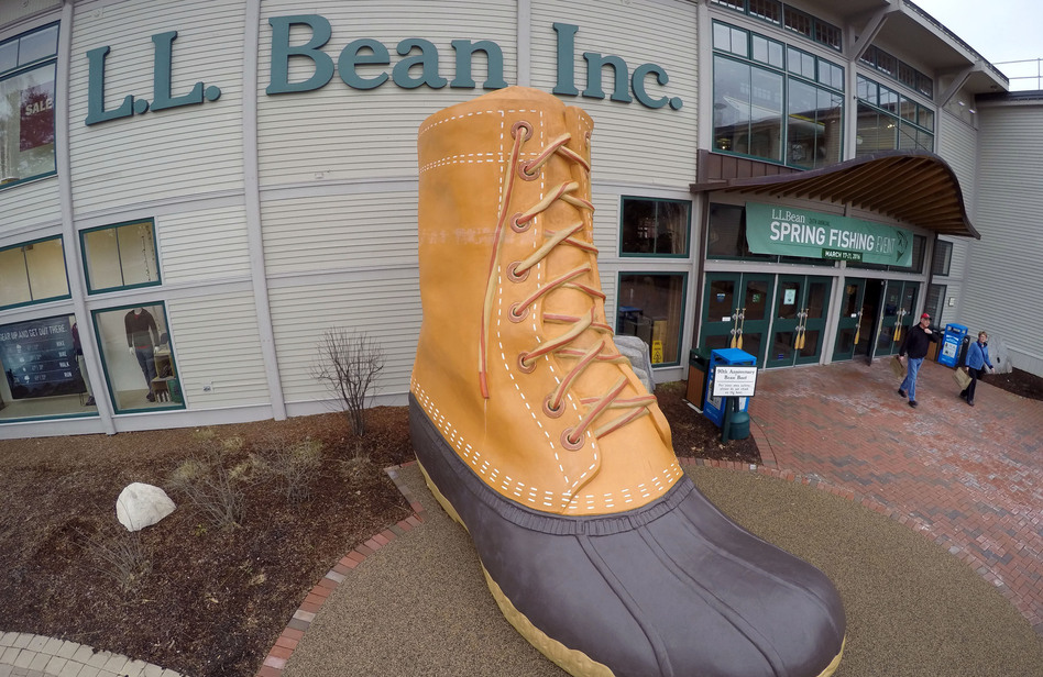Shoppers exit the L.L. Bean retail store in Freeport, Maine. (Robert F. Bukaty/AP)