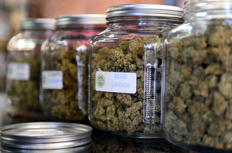 """The highly rated variety of medical marijuana known as  """"Blue Dream"""" was displayed among other strains at a cannabis farmers market in Los Angeles in 2014. (Frederic J. Brown/AFP/Getty Images)"""