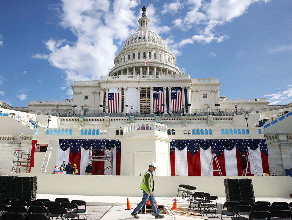 Workers are busy preparing the stage in Washington, D.C., to be used during the inauguration of Donald Trump on Jan. 20. (Mark Wilson/Getty Images)