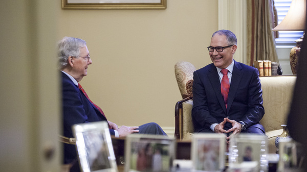 Senate Majority Leader Mitch McConnell, R-Ky., meets Jan. 6 with Environmental Protection Agency Administrator-designate Scott Pruitt, right, on Capitol Hill in Washington, D.C. Pruitt