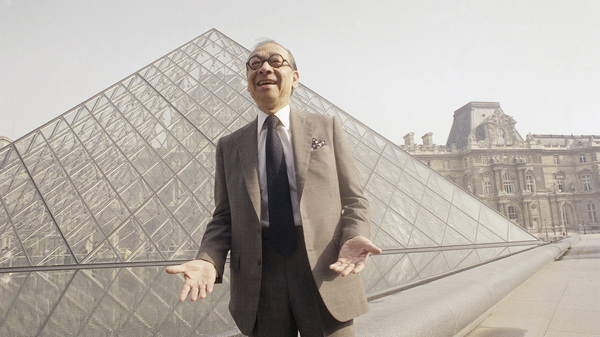 Architect I.M. Pei stands in front of the Louvre museum