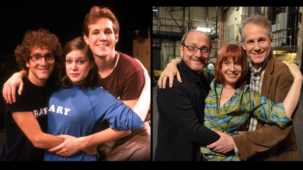 Then and now: In his new documentary Best Worst Thing That Ever Could Have Happened, director Lonny Price, left, reconnects with fellow cast members — including Ann Morrison and Jim Walton — from the 1981 Broadway flop, Merrily We Roll Along.