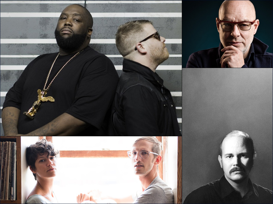 Clockwise from upper left: Run The Jewels, Brian Eno, Taylor Kirk of Timber Timbre, The Lowland Hum