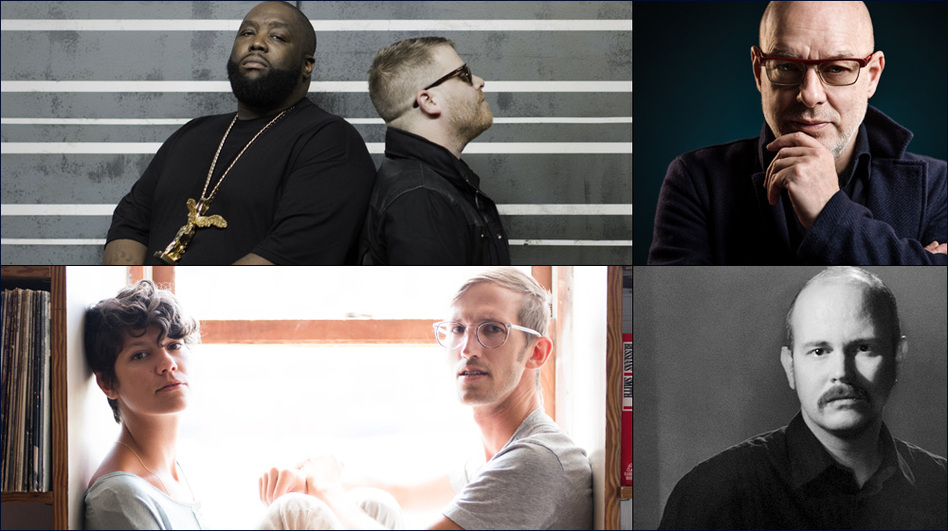 Clockwise from upper left: Run The Jewels, Brian Eno, Taylor Kirk of Timber Timbre, The Lowland Hum (Courtesy of the artists )