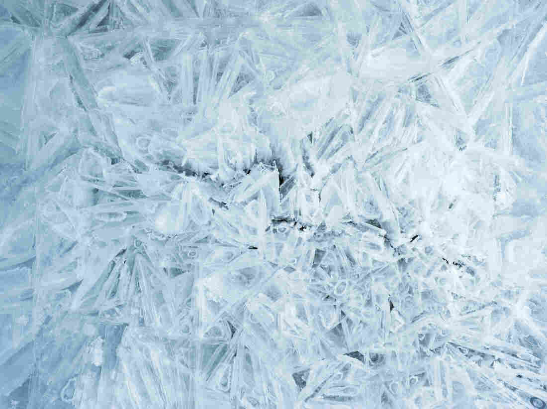 A close-up of white and blue crystals of ice and snow at Guinness Gully, Yoho National Park, British Columbia, Canada.