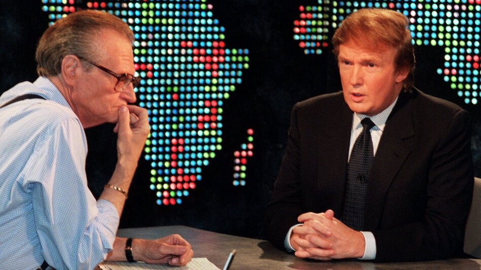 Donald Trump interviewed on <em>Larry King Live</em> on Oct, 7, 1999. Trump said he had formed an exploratory committee to help him determine whether he could win the White House as a Reform Party candidate. (Marty Lederhandler/AP)