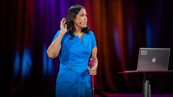 "Astronomer Wanda Diaz Merced talks about ""sonification"" on the TED stage."
