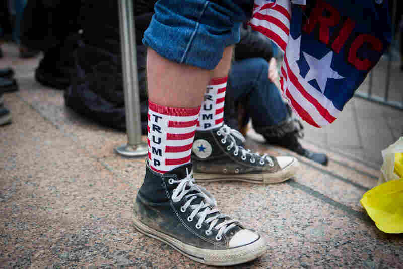A spectator sports Trump-themed socks near the National Mall.
