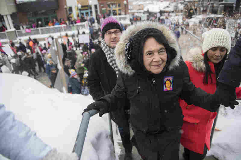 "Civil rights activist Dolores Huerta participates in the ""Women's March On Main"" during the 2017 Sundance Film Festival in Park City, Utah."