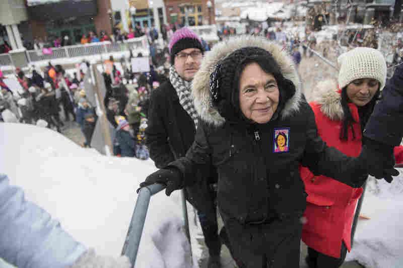 "Civil rights activist Dolores Huerta participates in the ""Women's March On Main"" during the 2017 Sundance Film Festival in Park City, Utah."