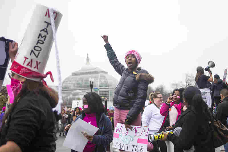 Protesters attend the Women's March on Washington in D.C.