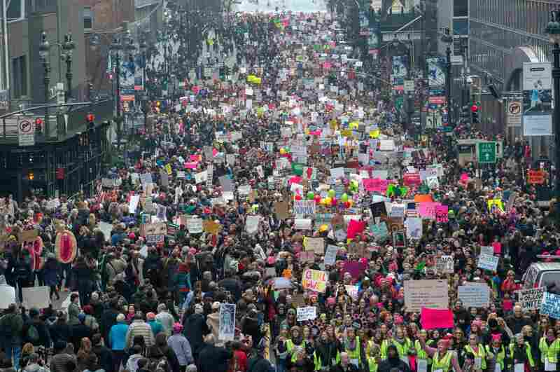 Protesters in New York City during the Women's March.