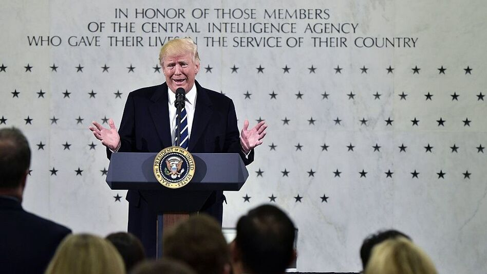 President Donald Trump speaks at CIA Headquarters in Langley, Va., on Saturday. (Mandel Ngan /AFP/Getty Images)