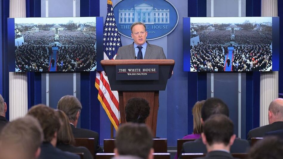 White House Press Secretary Sean Spicer delivers a statement in the Brady Briefing Room of the White House on Saturday. (Mandel Ngan /AFP/Getty Images)