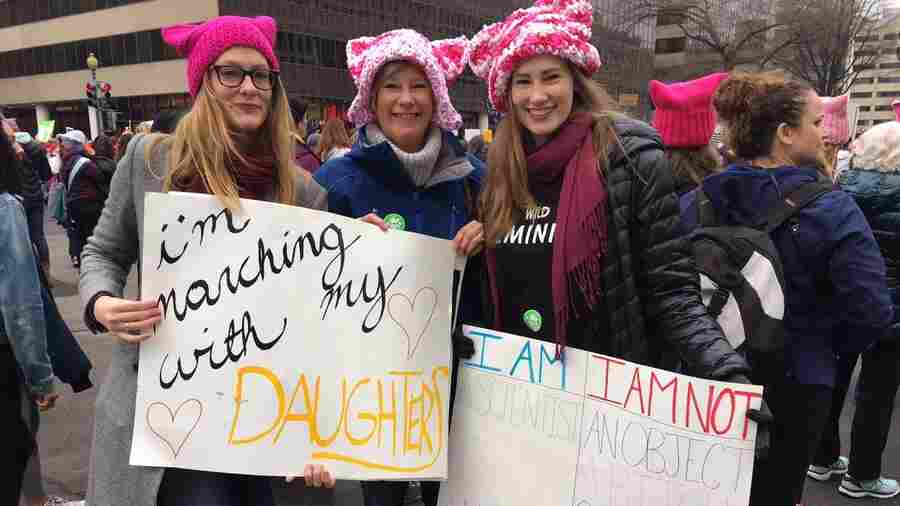 Mothers, Daughters, Sisters And Men Unite To Protest Trump's Presidency