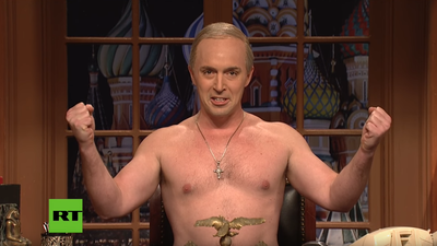 On 'SNL,' Aziz Ansari Aims To Quell Some American Angst That Shirtless Putin Can't