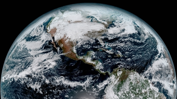 A composite image of Earth taken at 1:07 p.m. ET on January 15 by the GOES-16 satellite.
