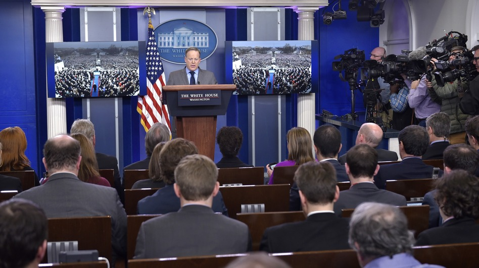 White House press secretary Sean Spicer delivers his first press briefing in the Brady Briefing Room on Saturday. (Mandel Ngan/AFP/Getty Images)