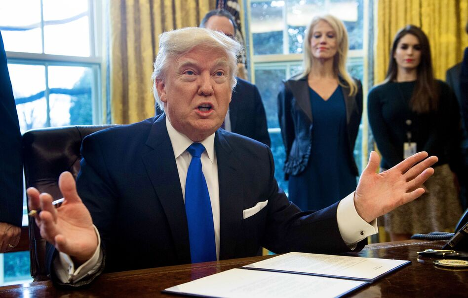 President Trump speaks before signing documents in the Oval Office related to the Dakota Access and Keystone pipelines on Tuesday. (Nicholas Kamm/AFP/Getty Images)