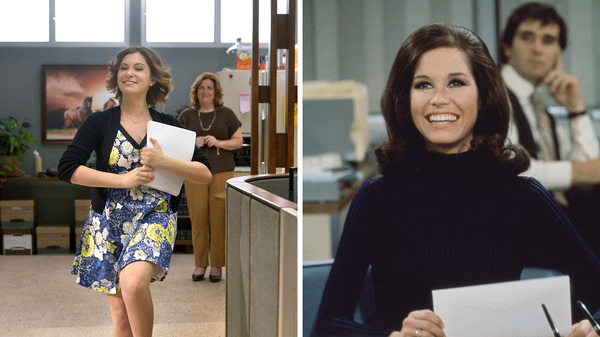 (Left) Rachel Bloom as Rebecca and Donna Lynne Champlin as Paula in Crazy Ex-Girlfriend. (Right) Mary Tyler Moore as Mary Richards on The Mary Tyler Moore Show in 1971.