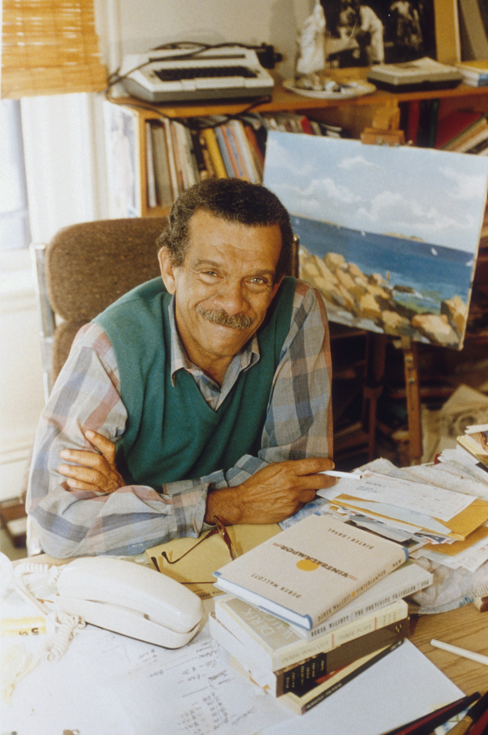 Poet and playwright Derek Walcott published his first poem at the age of 14. He won the Nobel Prize in Literature in 1992. (Brooks Kraft/Sygma via Getty Images)