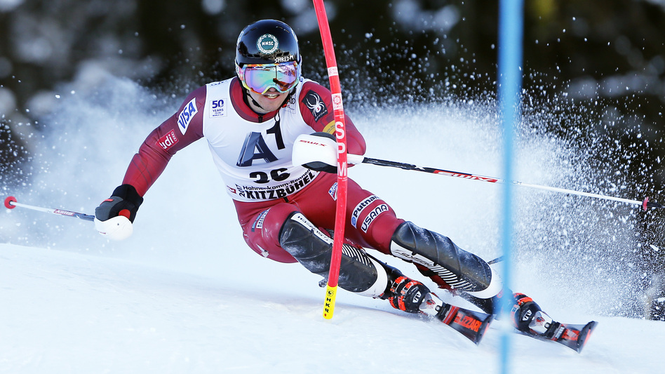 Robby Kelley, seen here during a race in Kitzbuehel, Austria, this weekend, gained some new fans for refusing to quit in another World Cup slalom race Tuesday night. (Alexis Boichard/Agence Zoom/Getty Images)
