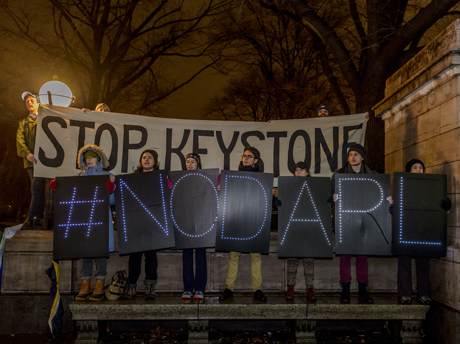 Hundreds of New Yorkers gathered at Columbus Circle in New York for a protest march to Trump Tower after the president signed an order to advance the Keystone XL and Dakota Access pipelines. (Pacific Press/LightRocket via Getty Images)