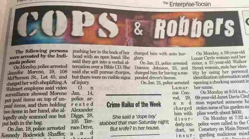 In Lighthearted Turn / Newspaper Takes Crime Reports / And Makes Them Haiku