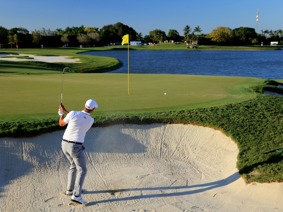 Adam Scott of Australia plays during the World Golf Championships-Cadillac Championship at the Trump National Doral Blue Monster course in 2016. (David Cannon/Getty Images)