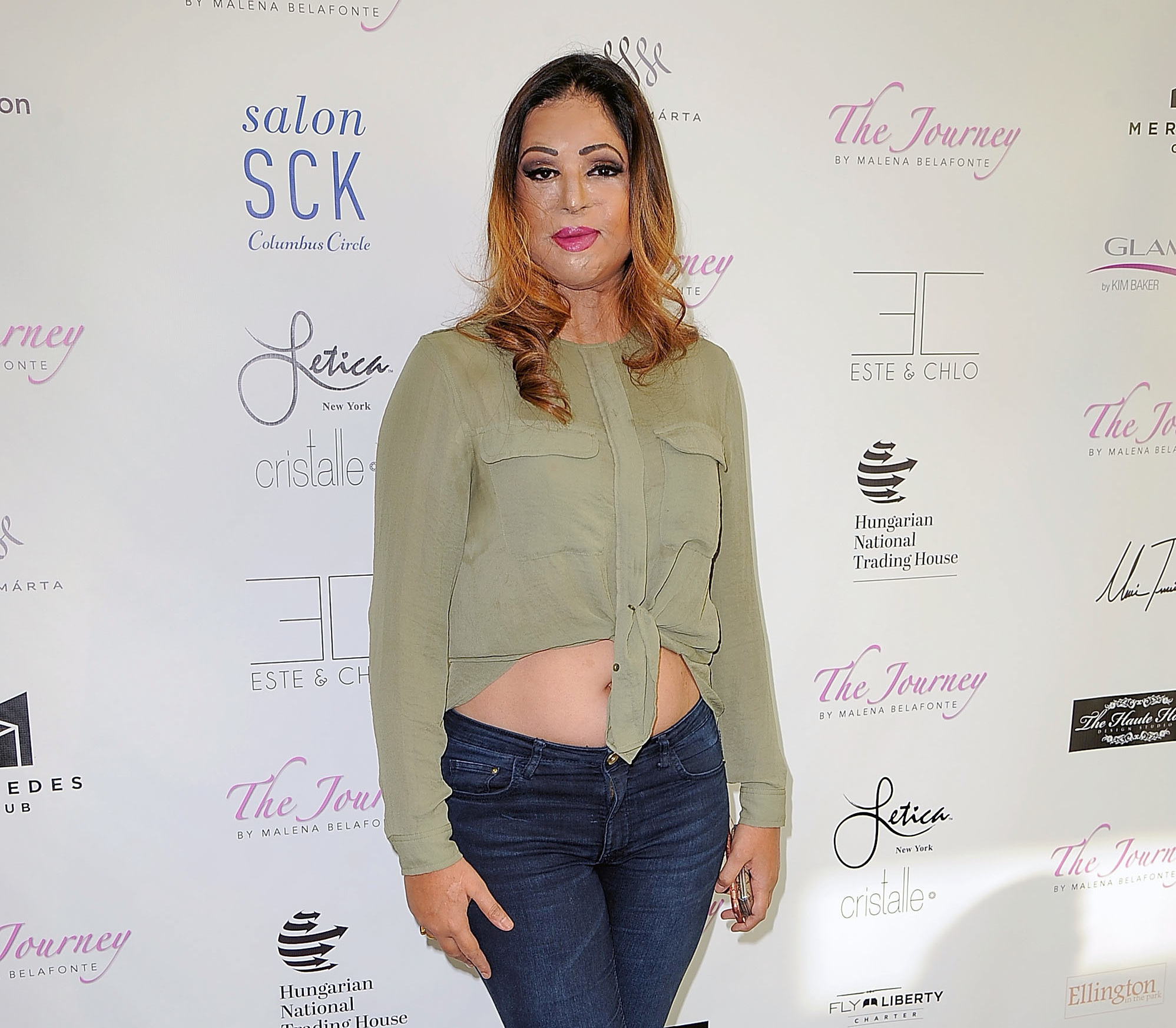 MoniCa Singh is an acid attack survivor — and a fashion designer and activist. She's pictured at New York fashion week on September 15, 2016.
